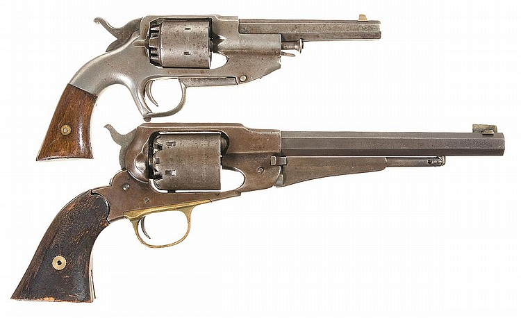 Two Percussion Revolvers-A) Rare Allen  &  Wheelock Center Hammer Navy Revolver   B) Remington New Model Army Percussion Revolver