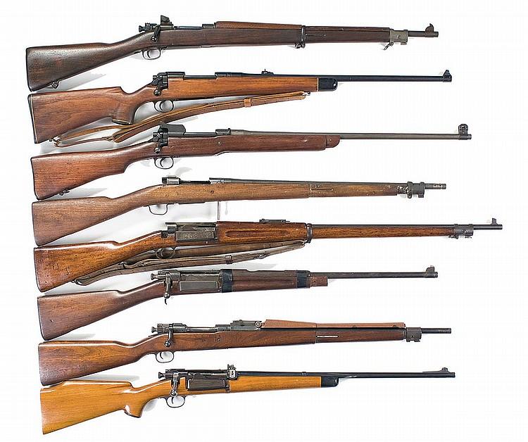 Lot - Eight Rifles -A) Early WWII Smith-Corona Model 1903A3 Service Rifle  B) Sporterized Eddystone Model 1917 Bolt Action Rifle C) U.S. Eddystone  Model 1917 Bolt Action Rifle D) U.S. Remington Model