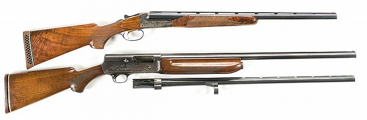 Two Shotguns -A) Simmons Quails Fargo Side by Side Shotgun   B) Remington Sportsman Skeet Semi Automatic Shotgun