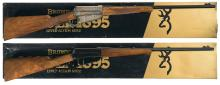 T.Naka Signed Browning High Grade 1895 Rifle, Matching Set