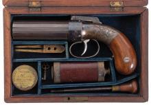 Attractive Cased Allen & Thurber Pepperbox Pistol
