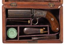 Cased Unmarked Blunt & Syms Style Percussion Pepperbox