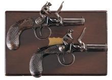 Cased Pair of Engraved Flintlock Pocket Pistols