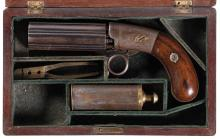 Cased Engraved Blunt & Syms Percussion Pepperbox