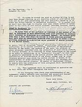 Rex Harrison Signed 1953 Warner Bros Film Contract