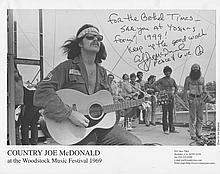 Country Joe McDonald Autographed Woodstock Photograph