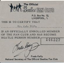 Beatles - 1968 Liverpool Fan Club Membership Card