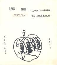 Beatles - 1970 USA Fan Club Membership Card