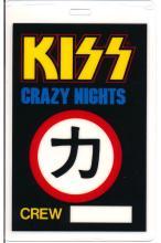 KISS - Crazy Nights World Tour - 1987 Laminated Backstage Pass