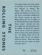 The Rolling Stones - Tower Ballroom - 1964 Concert Ticket