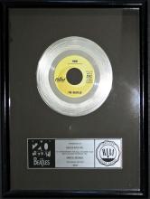 Beatles - Rain - Certified RIAA Multi Platinum Record Award