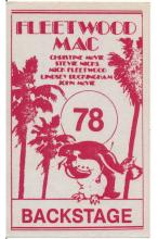 Fleetwood Mac - Penguin Country Summer Safari Tour - 1978 Backstage Pass