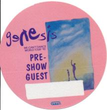 Genesis - We Can't Dance World Tour - 1992 Backstage Pass