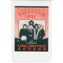 Fleetwood Mac - Shake the Cage Tour - 1987 Laminated Backstage Pass