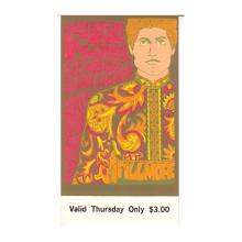 Pink Floyd - Fillmore - 1967 Vintage Concert Ticket