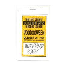 The Rolling Stones - Voodooween - 1994 Laminate Backstage Pass