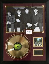 Beatles framed photo and gold disc signed by Pete Best