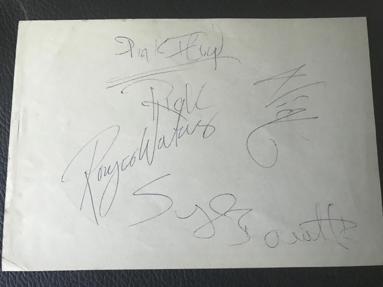 Pink Floyd Fully Signed Original Lineup Syd Barrett Autograph Page Certified