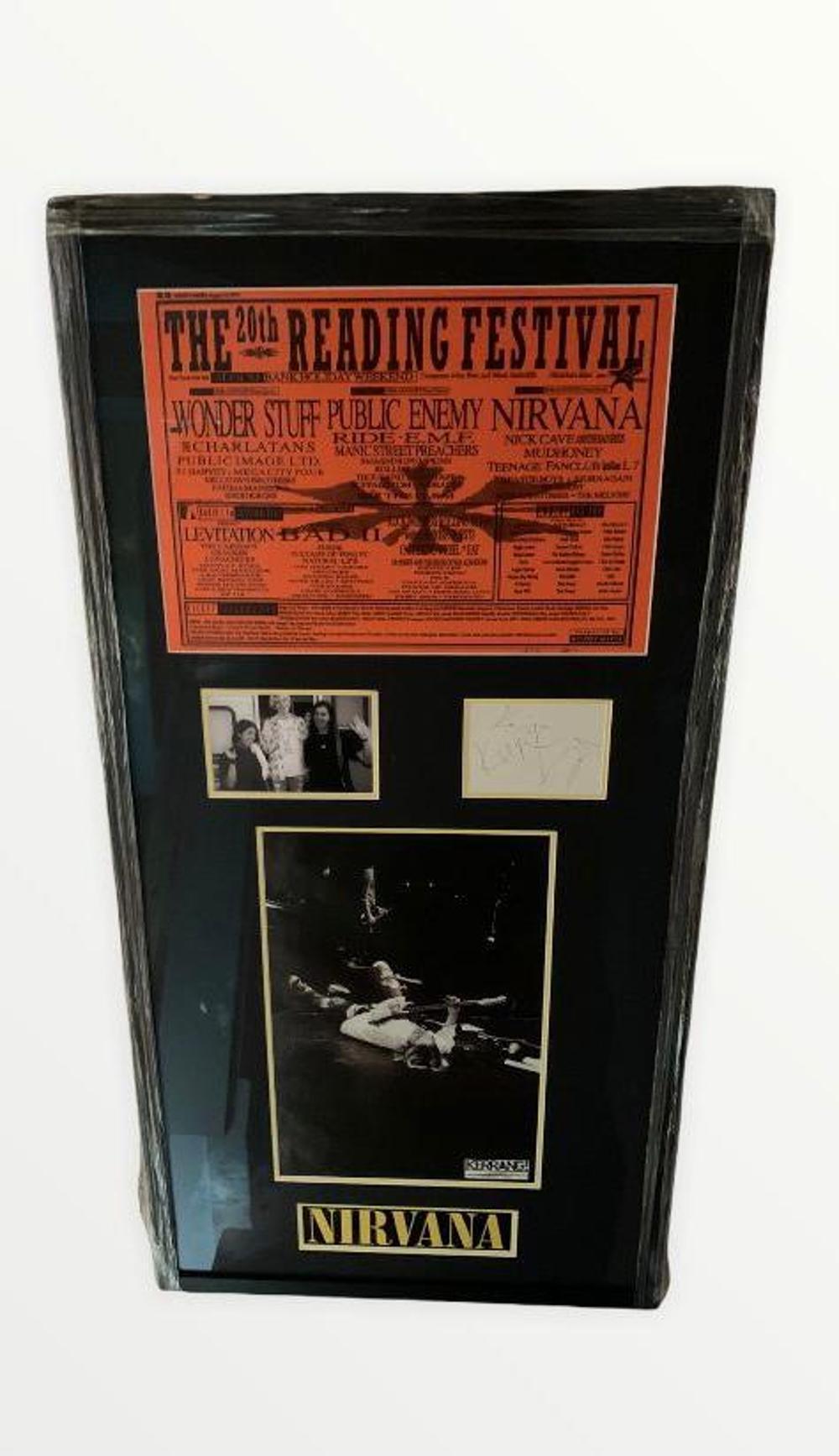 Nirvana Fully Signed Framed Reading Festival 1992 Display Certified.