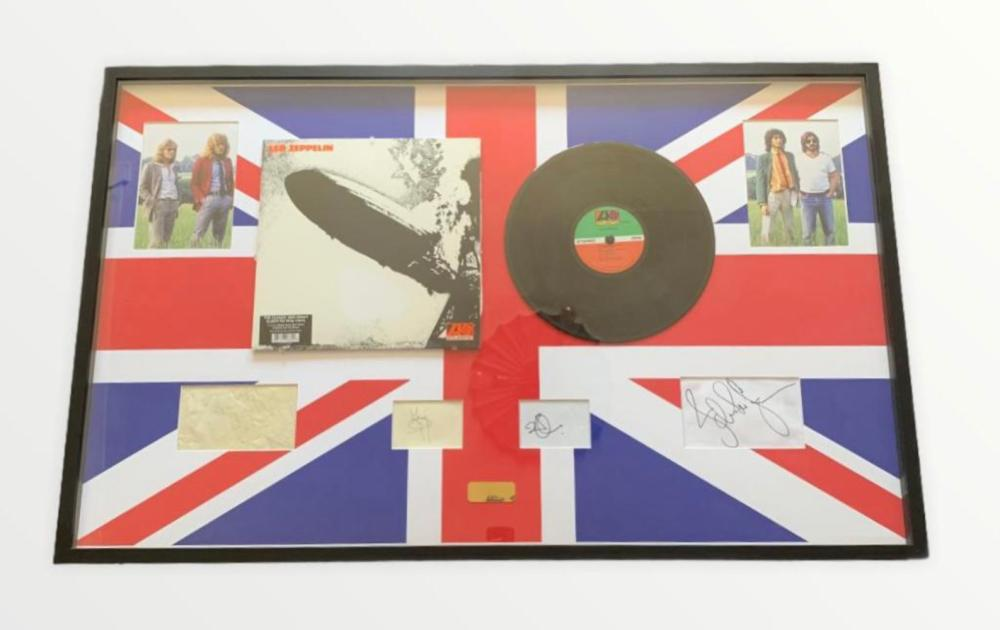 Led Zeppelin Fully Signed Original Members Framed Display Certified