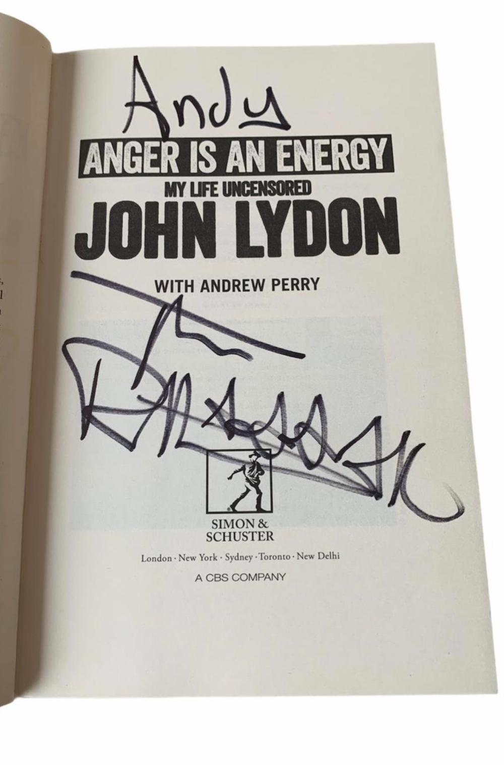 John Lydon The Sex Pistols Signed Anger is an Energy Hardback Book Dedicated Certified
