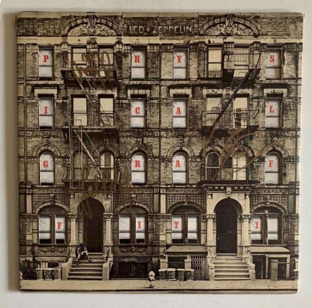 Led Zeppelin Fully Signed Physical Graffiti Vinyl LP Certified