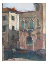 Ludwig Putz: Canal Scene, Watercolor