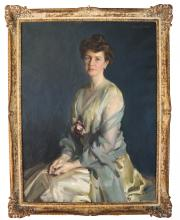 Louis BETTS: Portrait of Mrs. Crofts - Oil on Canv