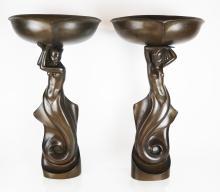 Pair Art Deco Bronze Figural Wall Lights