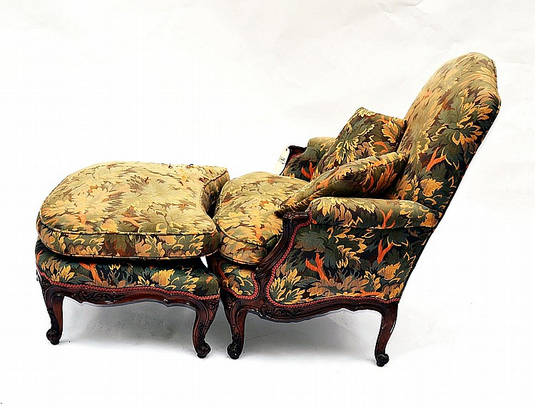 LXV Style Carved Walnut Two Part Chaise