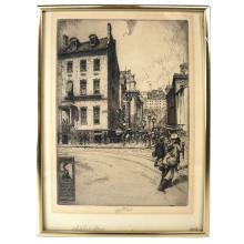 """C.F.W. MIELATZ: """"Whitehall St."""" - Etching"""