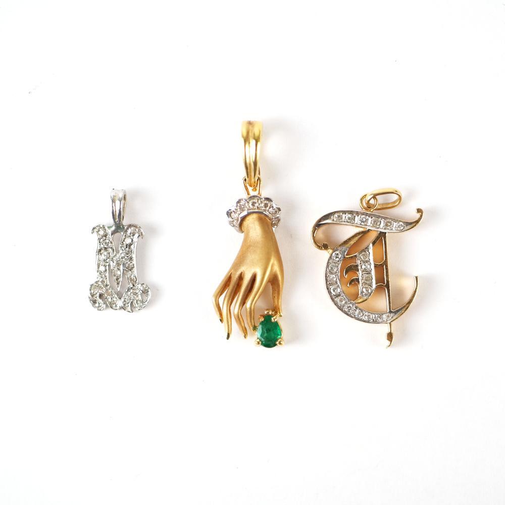 3 Emerald & Diamond Pendants: 14K (2) and 18K (1)