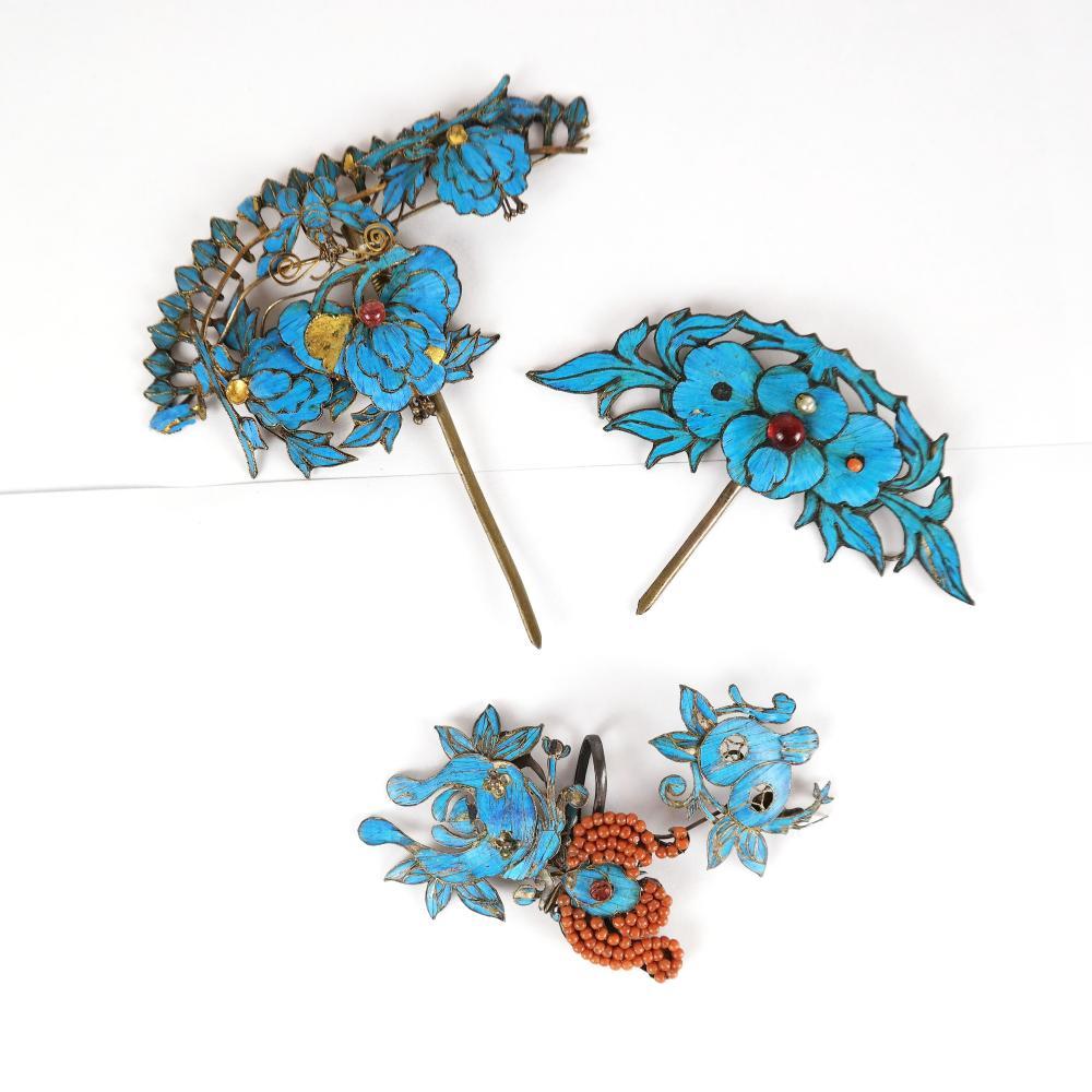 19th C. Chinese Kingfisher Hair Pin Group (3 Pcs)