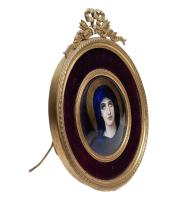 Porcelain Plaque in Bronze Frame