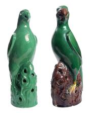 Pair of Glazed Pottery Cockatoo