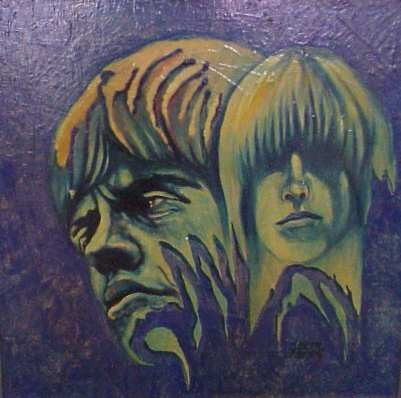 MAURICE GREENBERG (1893-?, USA) ROLLING STONES WITH MICK JAGGER, OIL ON MASONITE, SIGNED LOWER RIGHT, 24