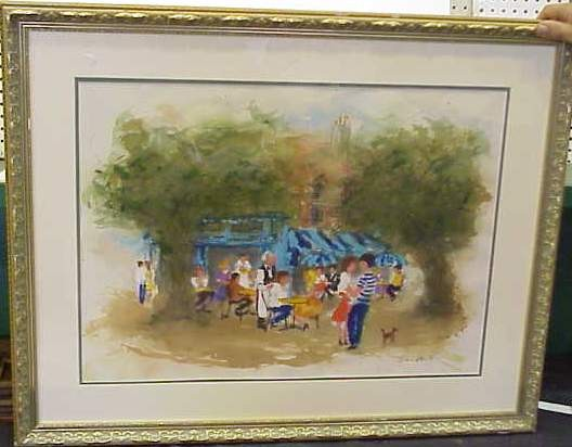 URBAIN HUCHET (1930- FRANCE) OUTDOOR BISTRO, PARIS, FRANCE, WATERCOLOR ON PAPER, SIGNED LOWER RIGHT, 20