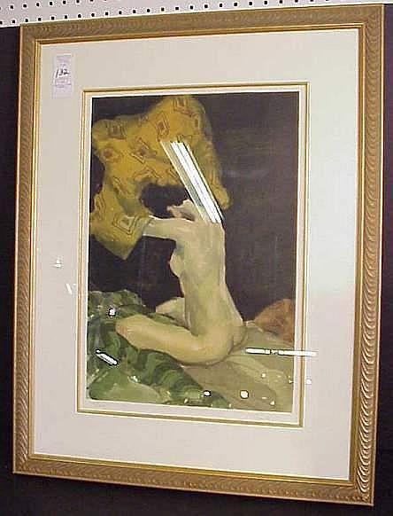 Malcolm Liepke (1954- Minneapolis, Mn.)  Portrait  of a nude, lithograph, 20