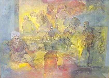 Robert Moesle (1932- American) Multiple Figures,  mixed media on board, signed lower right, 20 1/2