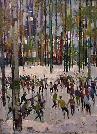 Jean Monneret (1922- French)  Ice Skaters, oil on  canvas, signed and dated '64 lower left, 51