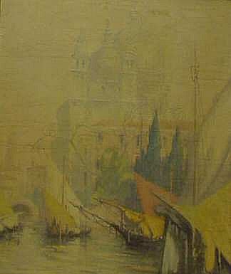 Gennaro Favai (1870-1958 Italy) Venetian Canal  Scene, oil on board, signed lower right, 28