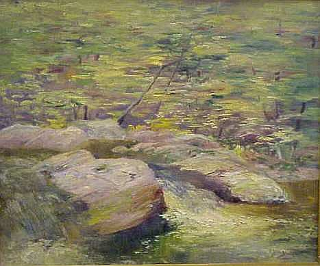 ROCKY RIVER SCENE, SIGNED BLACKMORE (POSSIBLY ARTHUR EDWARD BLACKMORE 1854-1912, NY), OIL ON CANVAS, SIGNED LOWER RIGHT, 20