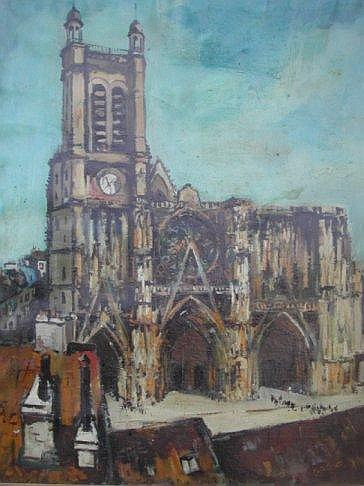 Claude Aliotti (French 1925 - 1985) Cathedral
