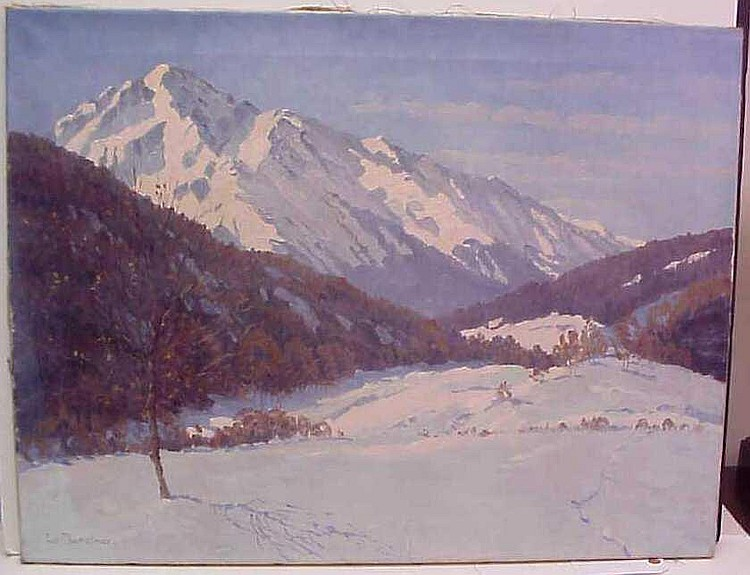 Lonny Von Planckner ((1863-?, German) Snowy  mountain landscape, oil on canvas, signed lower  left, 23 5/8