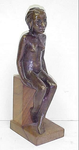 Joachim Karsch (1897-1945, German) Bronze figure  of a seated woman, has partial paper label on base  from Anne Abels Gallerie Koln with artists name  &   partial title