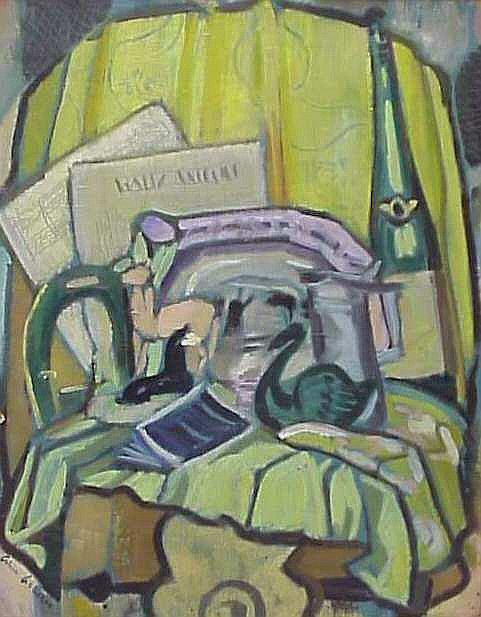 "Alice Acheson (1895-Washington, D.C.) Cubist Still Life, oil on board, 20"" x 16"", signed l.l., framed 27"" x 23 1/4"", Maynard Walker Gallery, NY label verso"