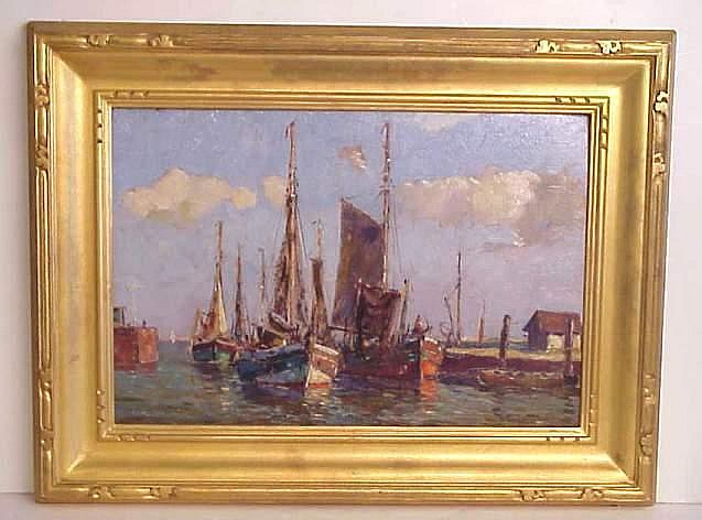 Paul Ernst Wilke (1894-1972 Germany)  Norden  harbor scene with sailboats, oil on board, 13 1/4