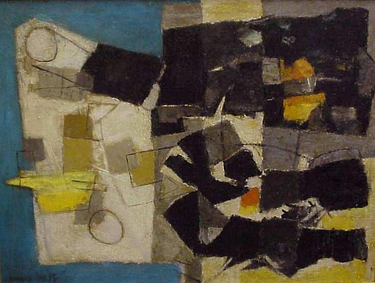 Nicholas Takis (1903-1965, New York) 2 Abstract  paintings, oil on canvas, signed lower left, 29  1/2