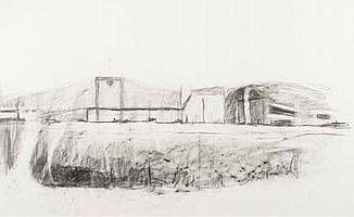 Doris Rohr - INDUSTRIAL LANDSCAPE - Charcoal on
