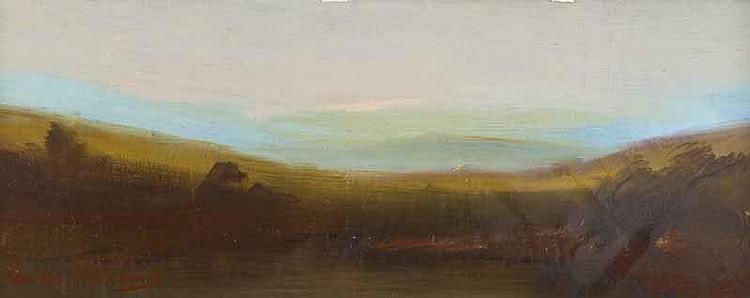 Adam Kos - LANDSCAPE, Oil on Board, 4 x 10 inches,